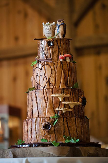 a woodland wedding cake that seems to be covered with tree bark, fake foliage and mushrooms plus owl toppers
