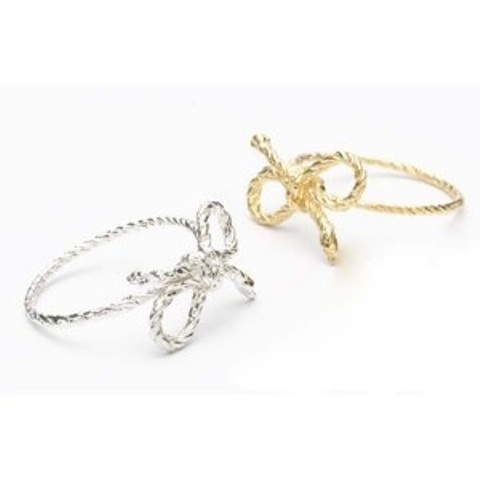 silver and gold rope bow engagement rings are pretty, whimsy and creative, great for a person who loves rustic stuff