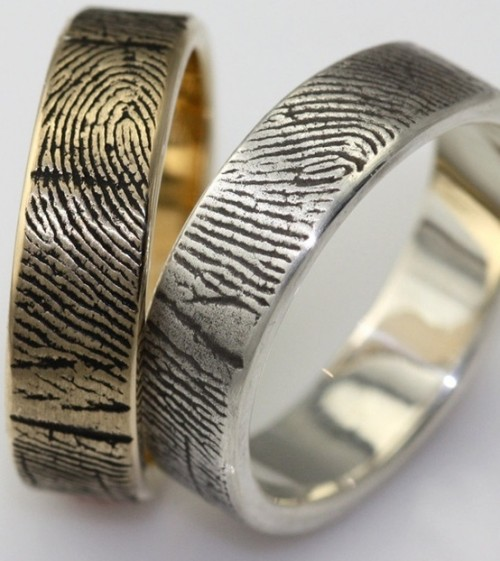 lovely finger print engagement or wedding rings are amazing and very personalized at the same time
