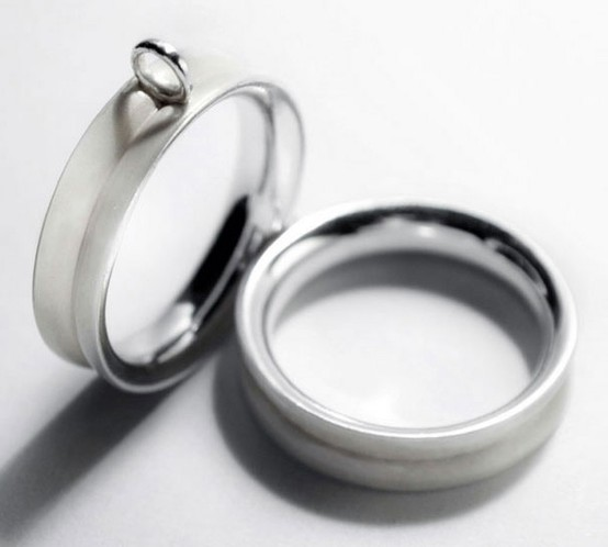 modern engagement or wedding rings with white enamel is a stylish idea for a contemporary yet out of the box couple