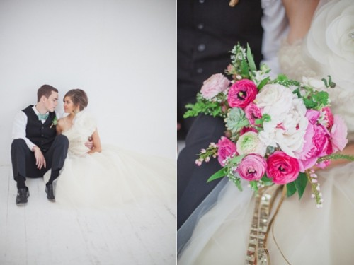 Unusual And Modern Emerald Pink And Gold Wedding Inspiration