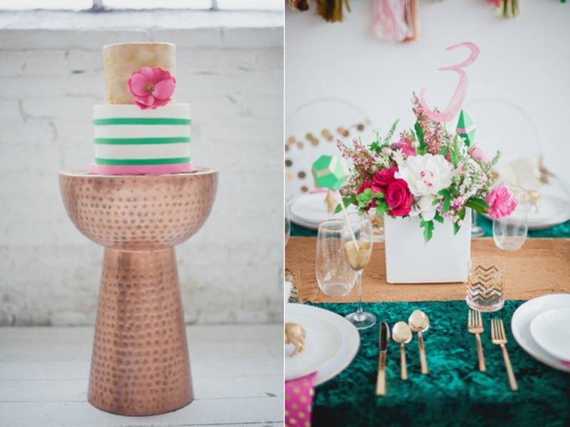 Picture Of Unusual And Modern Emerald Pink Gold Wedding Inspiration