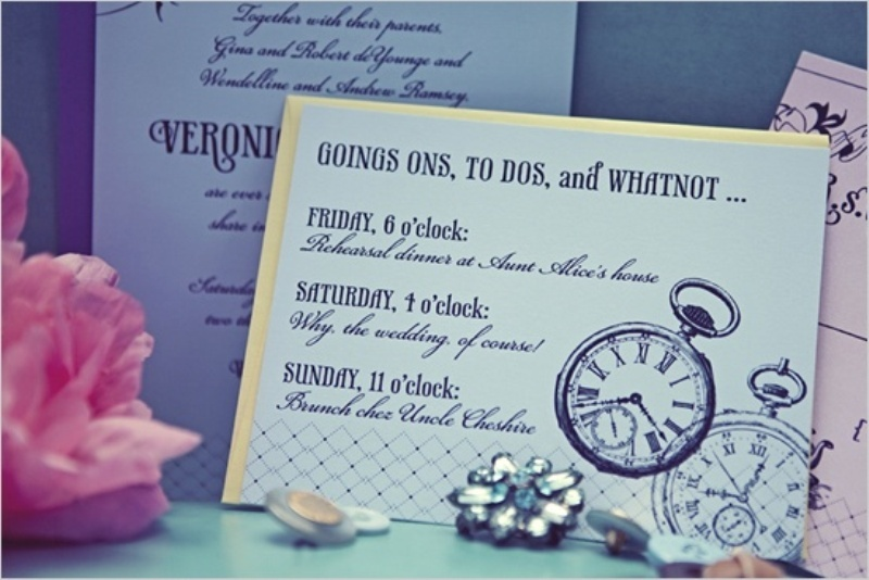 bright wedding invitations with clocks painted is a fun and cool idea for a NYE or contemporary wedding