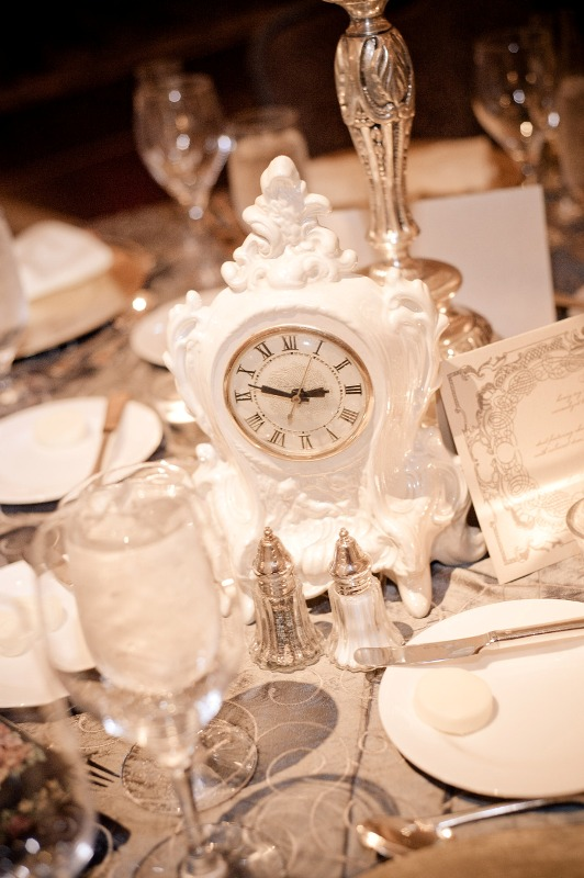 unusual and romantic wedding theme with clocks