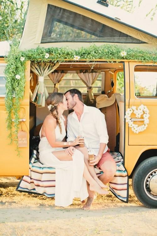 Vintage Hippie-Inspired Surf Wedding Shoot
