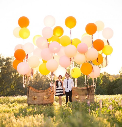Charming Vintage Hot Air Balloon Wedding Shoot