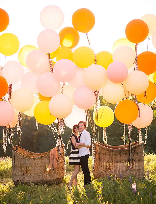 Picture Of Vintage Hot Air Balloon Wedding Shoot 16