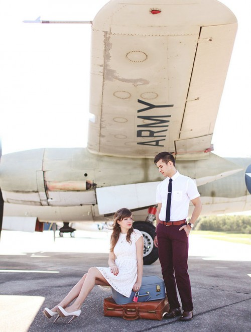 Vintage-Inspired Engagement Session At An Airplane Hangar