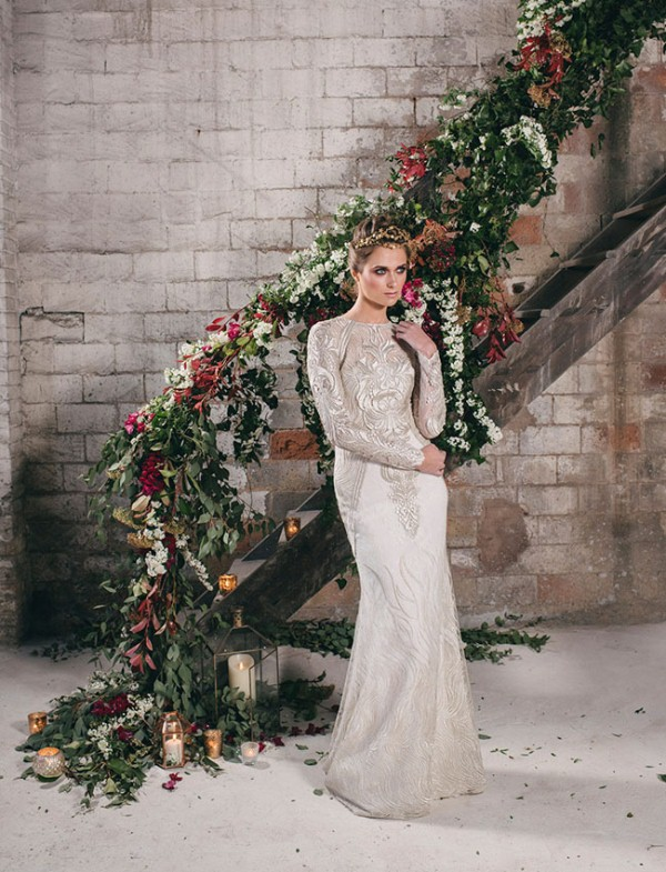 Picture Of watercolor industrial wedding inspiration in an old factory  1