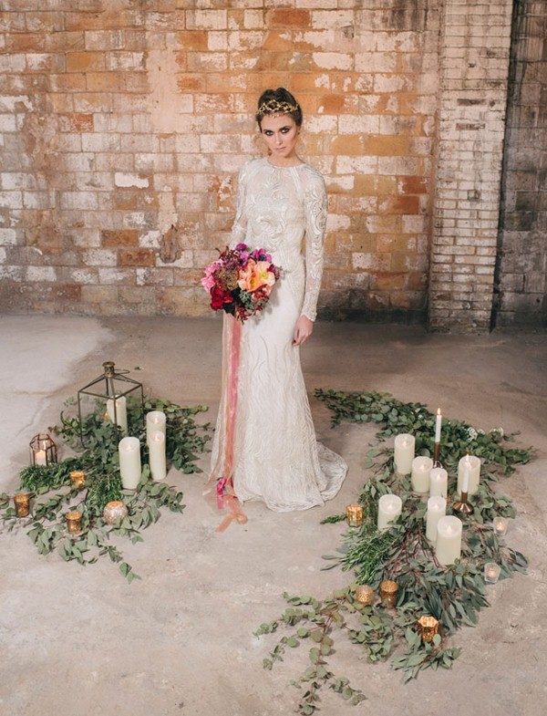 Picture Of watercolor industrial wedding inspiration in an old factory  10