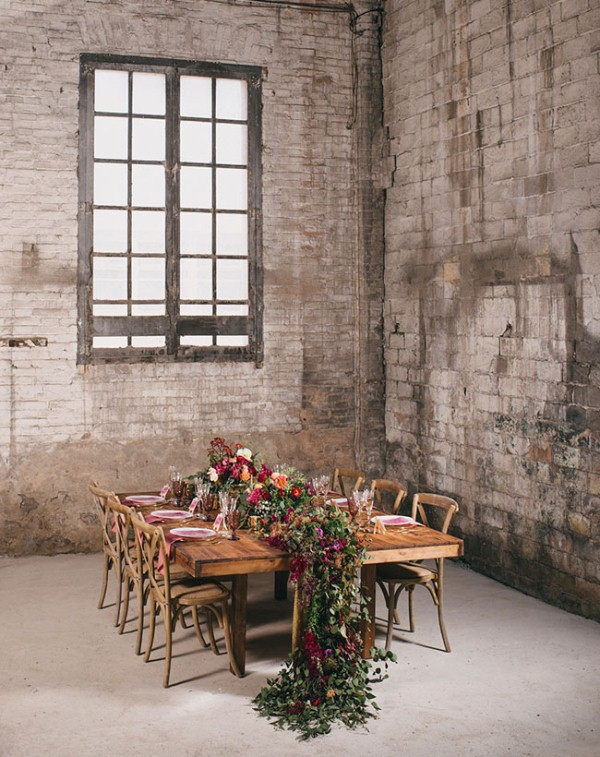 Picture Of watercolor industrial wedding inspiration in an old factory  14