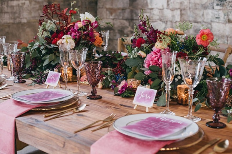 Picture Of watercolor industrial wedding inspiration in an old factory  15