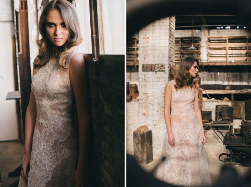 Picture Of watercolor industrial wedding inspiration in an old factory  19