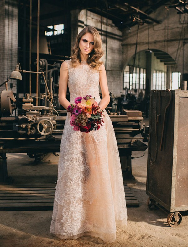 Picture Of watercolor industrial wedding inspiration in an old factory  20