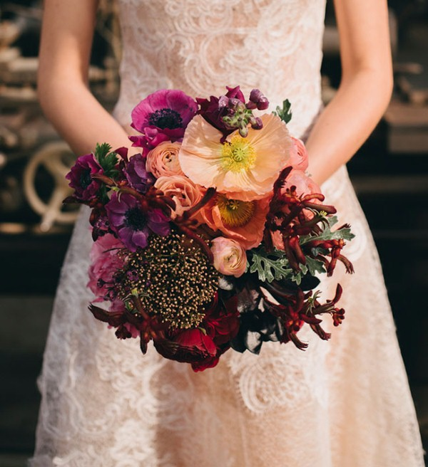 Picture Of watercolor industrial wedding inspiration in an old factory  21