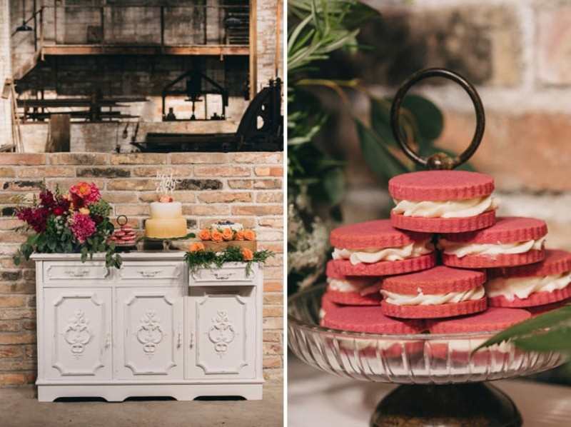 Picture Of watercolor industrial wedding inspiration in an old factory  22