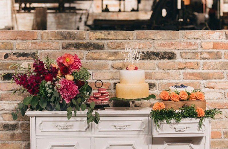 Picture Of watercolor industrial wedding inspiration in an old factory  23