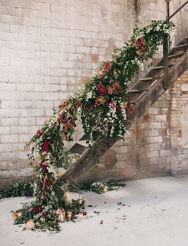 Picture Of watercolor industrial wedding inspiration in an old factory  3