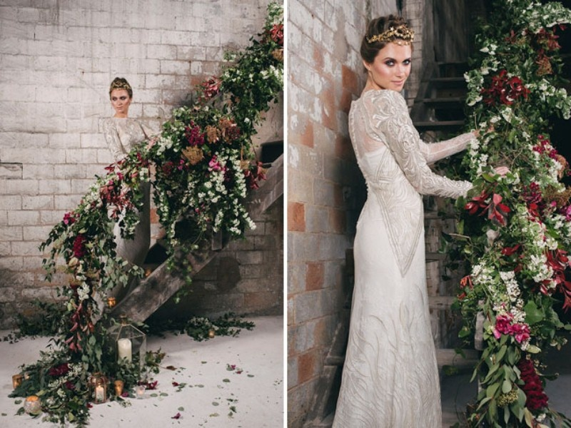 Picture Of watercolor industrial wedding inspiration in an old factory  4