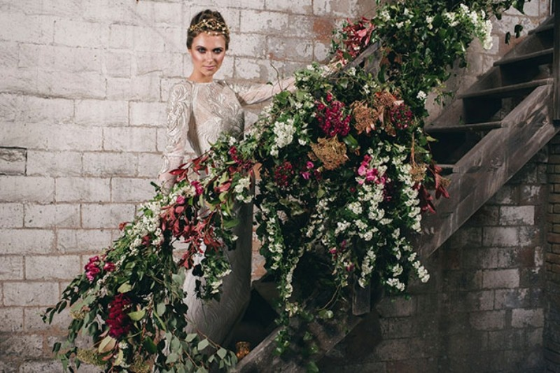 Picture Of watercolor industrial wedding inspiration in an old factory  5
