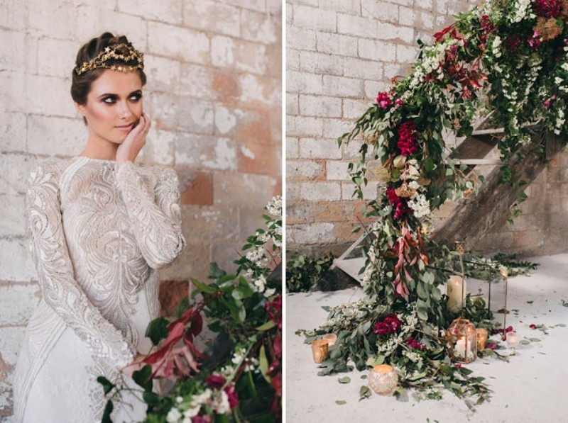Picture Of watercolor industrial wedding inspiration in an old factory  7
