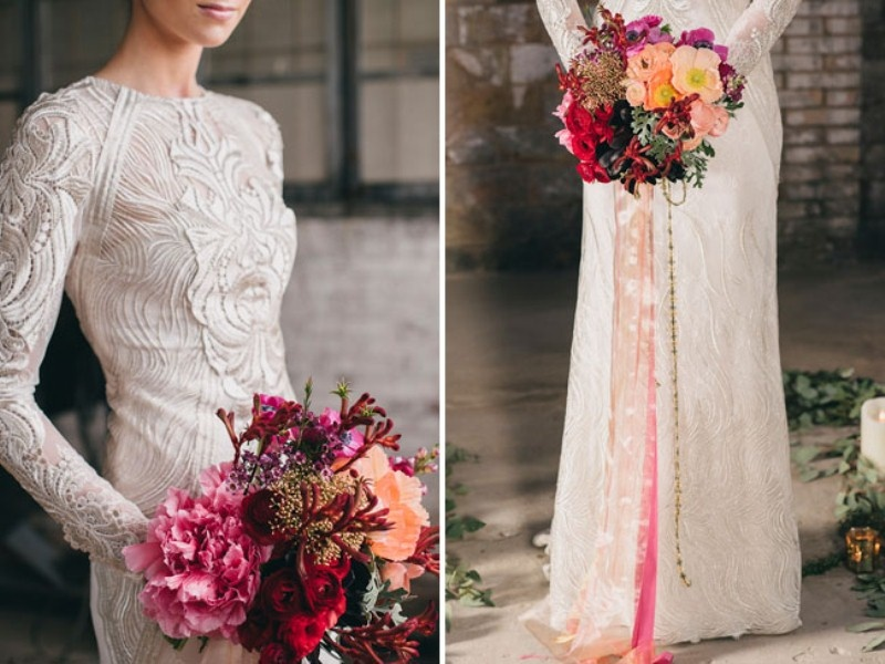 Picture Of watercolor industrial wedding inspiration in an old factory  9