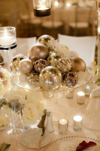 a pretty and easy winter wedding centerpiece of a sheer glass bowl and lots of shiny ornaments in it
