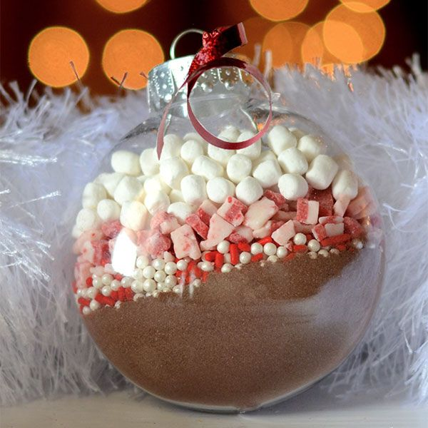 sheer ornaments filled with hot cocoa mix are great to give themm as favors, they are very cozy and won't cost a lot