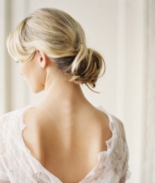 Hairstyle With A Low Profile For A Drop Veil (via weddingomania)