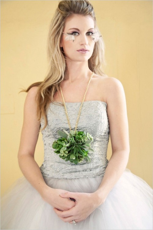 Whimsical And Non-traditional Bridal Shoot With Wearable Floral Art
