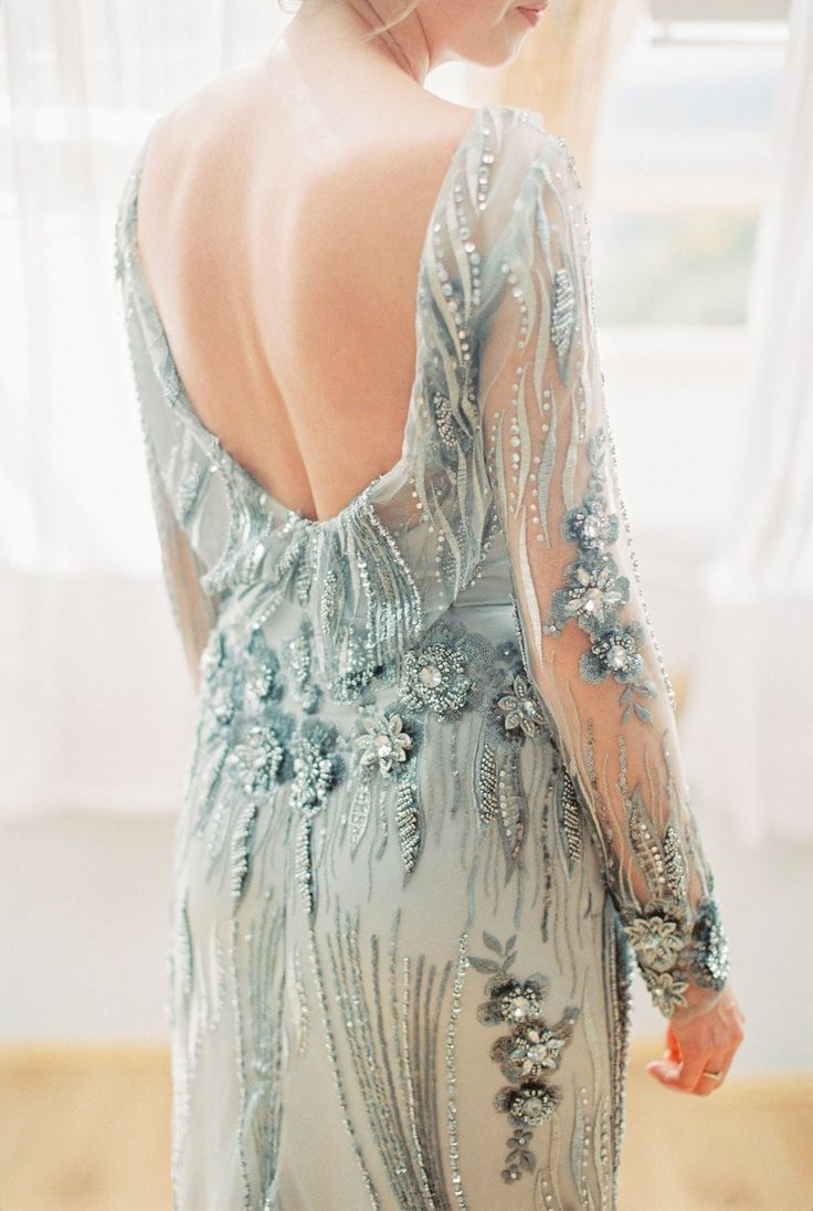 Picture Of whimsical summer wedding with custom silver dress  2