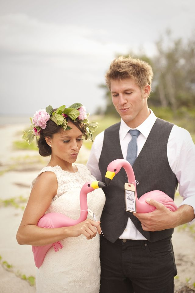 Picture Of whimsy and cheerful flamingo wedding theme ideas  22