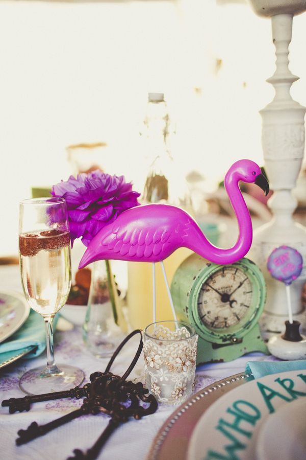 Picture Of whimsy and cheerful flamingo wedding theme ideas  23