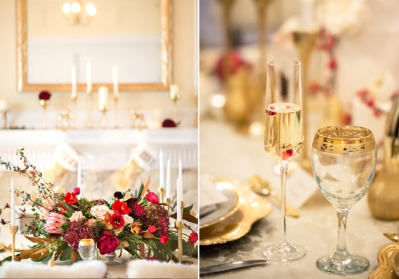 Picture Of White Red And Gold Sophisticated Beautiful Winter Wedding Inspiration
