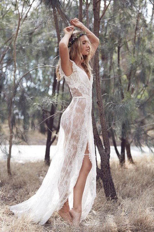 Picture Of wild love bohemian bridal shoot with stunning lace gowns  1