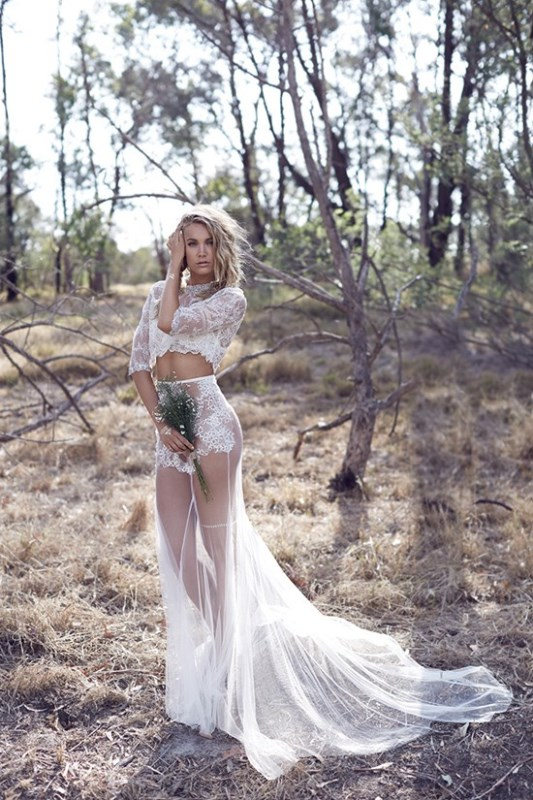 Picture Of wild love bohemian bridal shoot with stunning lace gowns  11