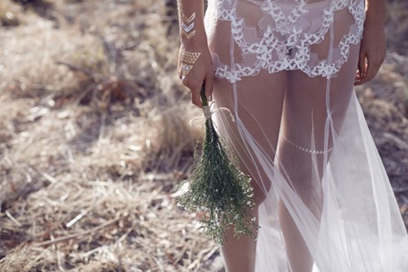 Picture Of wild love bohemian bridal shoot with stunning lace gowns  13