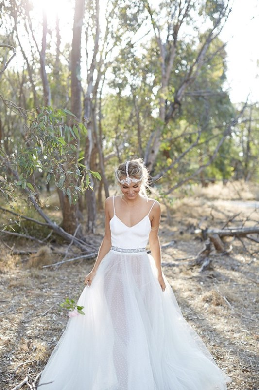 Picture Of wild love bohemian bridal shoot with stunning lace gowns  15