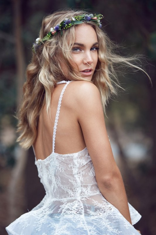 Picture Of wild love bohemian bridal shoot with stunning lace gowns  18