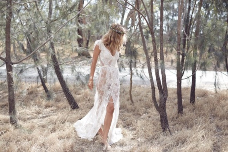 Picture Of wild love bohemian bridal shoot with stunning lace gowns  2