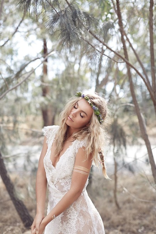 Picture Of wild love bohemian bridal shoot with stunning lace gowns  3