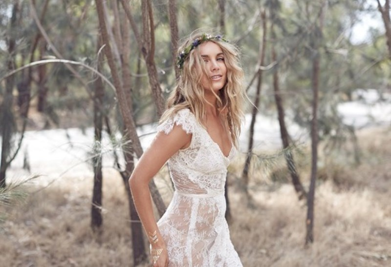 Picture Of wild love bohemian bridal shoot with stunning lace gowns  5