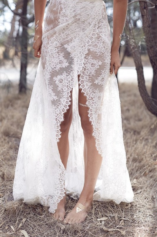 Picture Of wild love bohemian bridal shoot with stunning lace gowns  6
