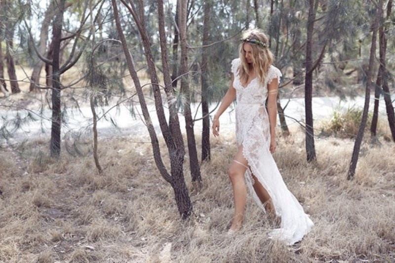 Picture Of wild love bohemian bridal shoot with stunning lace gowns  7