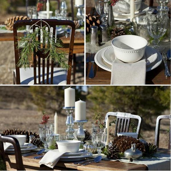 a rustic winter wedding tablescape done with plaid, pinecones, evergreens, metallics and neutral candles