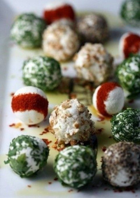 cheese balls with herbs, nuts, spices and other stuff are great for carnivores and vegetarians