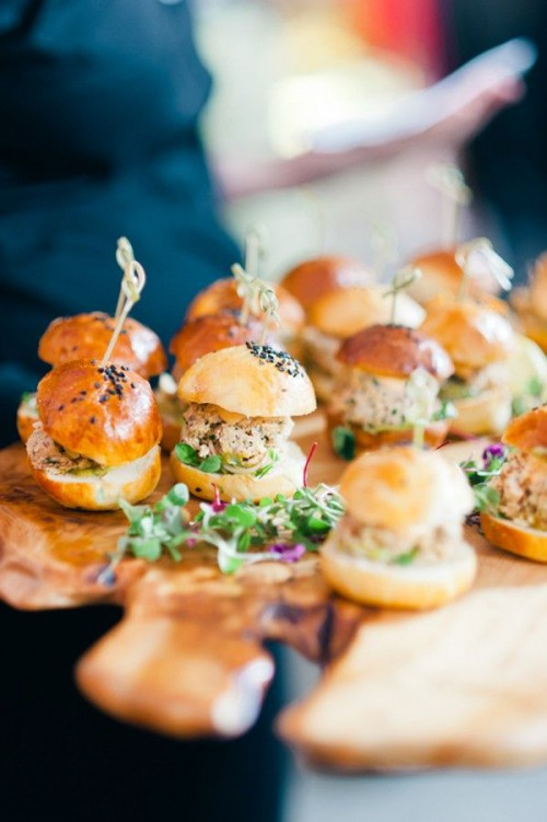 mini burgers with various fillings and herbs are crowd-pleasing winter wedding appetizers that are very hearty