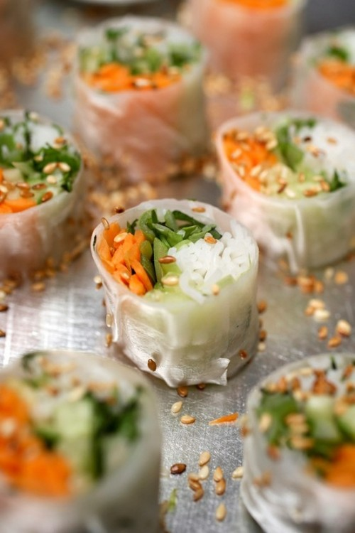 spring rolls with fresh veggies, spices and rice are amazing for a spring wedding or any vegetarian wedding, too