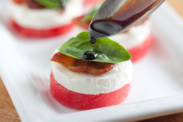 a fresh take on Caprese salad   watermelon, cheese, some herbs and balsamic