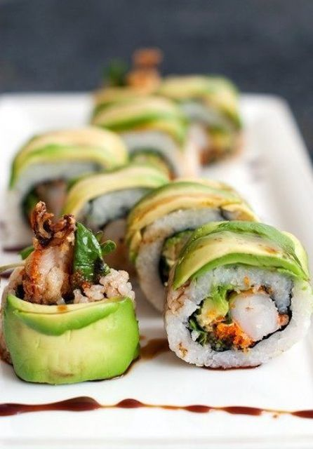 rolls with greenery, veggies, rice, grilled shrimps are a fresh and modern take on classic Japanese ones